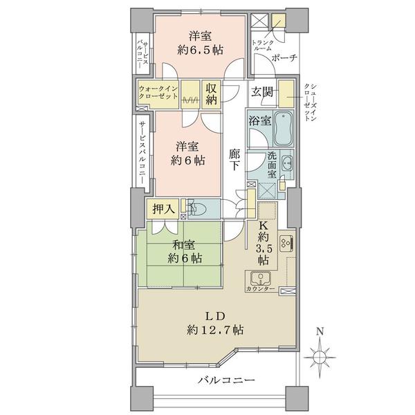 ブリリアタワー所沢ロジュマンの間取図/15F/4,280万円/3LDK+2WIC+SIC/81.59 m²