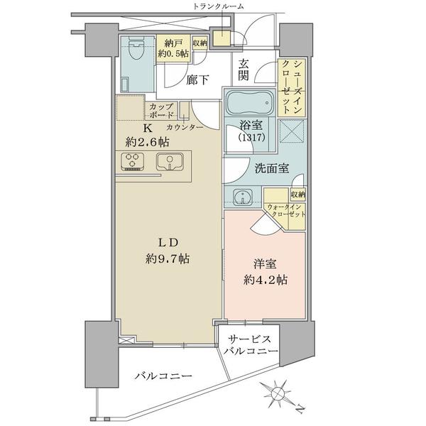 ブリリア ザ・タワー東京八重洲アベニューの間取図/25F/6,390万円/1LDK/43.89 m²