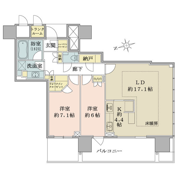 ブリリアタワー池袋の間取図/23F/11,990万円/2LDK+W/81.02 m²