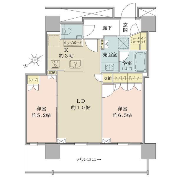 ザ・タワーレジデンス大塚の間取図/4F/5,230万円/2LDK+Sic/58.15 m²