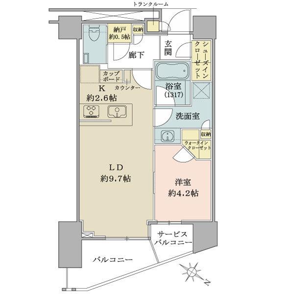 ブリリア ザ・タワー東京八重洲アベニューの間取図/26F/6,390万円/1LDK/43.89 m²