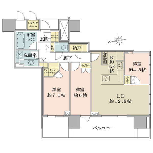 ブリリアタワー池袋の間取図/26F/15,500万円/3LDK/81.02 m²
