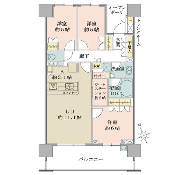 ブリリア成増シーズンテラスの間取図/4F/5,480万円/3LDK/72.34 m²