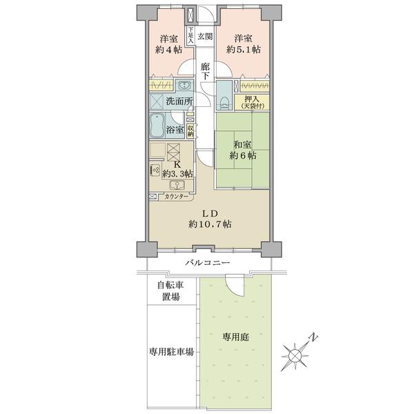プランヴェール狭山ヶ丘の間取図/1F/1,380万円/3LDK/65.23 m²