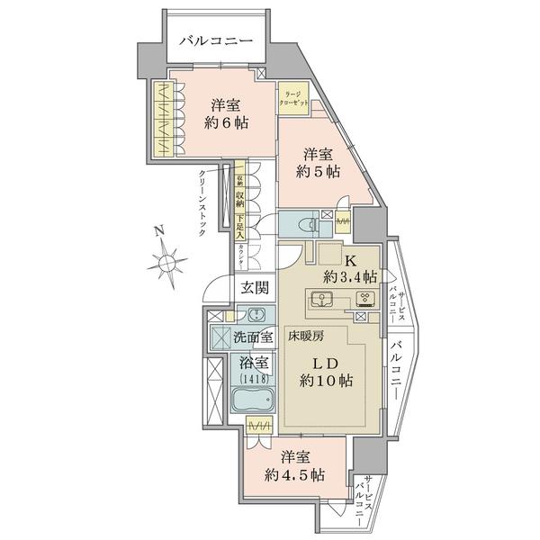 ブリリア田端の間取図/14F/6,480万円/3LDK+LC/70.05 m²