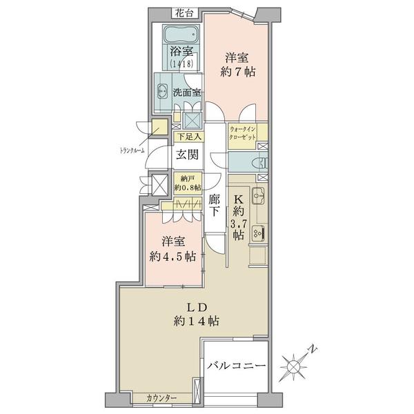 グランヴェール六義園の間取図/4F/7,280万円/2LDK/71.57 m²
