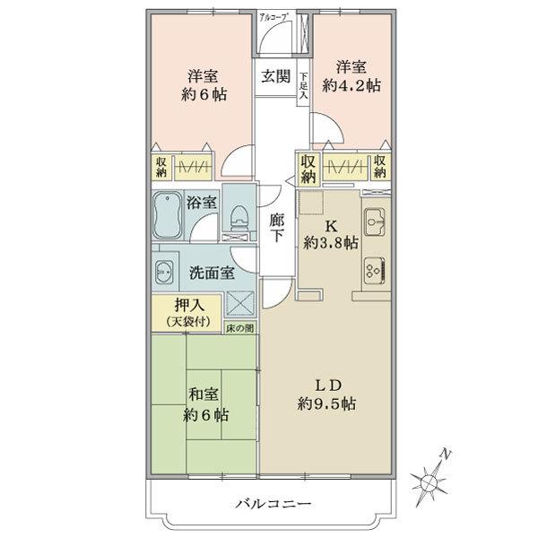 東建ニューハイツ北鴻巣の間取図/3F/600万円/3LDK/70.94 m²