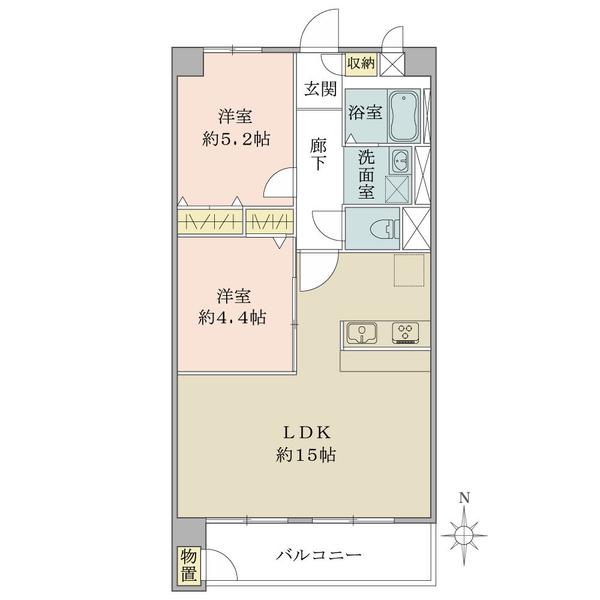 東建滝野川マンションの間取図/12F/2,980万円/2LDK/55 m²