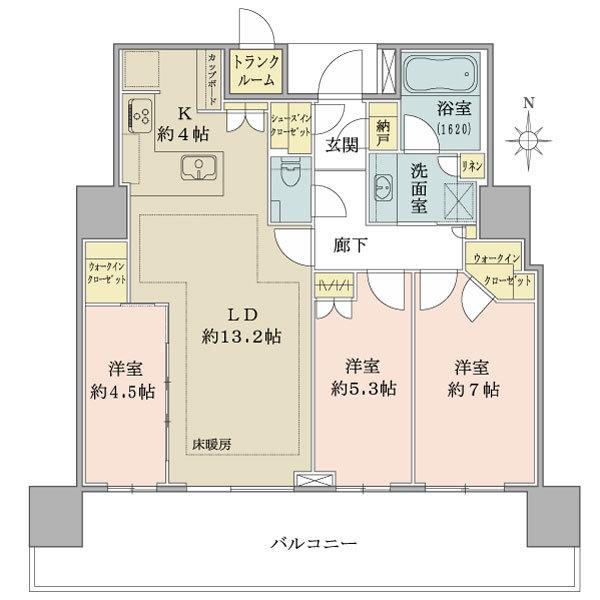 ブリリアタワー池袋の間取図/18F/11,200万円/3LDK/79.73 m²
