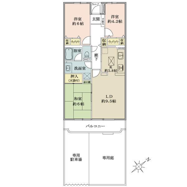 東建ニューハイツ北鴻巣の間取図/1F/550万円/3LDK/70.94 m²
