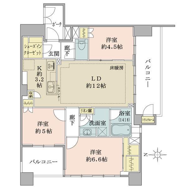 ブリリア王子神谷の間取図/4F/5,680万円/3LDK/74.86 m²