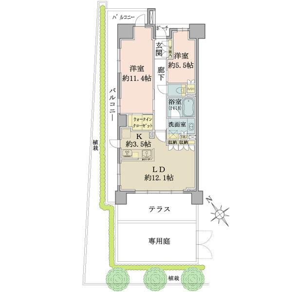 ブリリアときわ台ソライエレジデンスの間取図/1F/4,980万円/2LDK+WIC/75.23 m²
