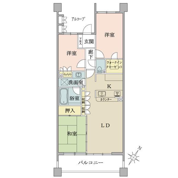 グローヴ・ステージの間取図/2F/5,390万円/3LDK+w/75.94 m²