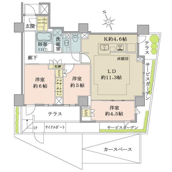 ブリリア山手動坂グランスイートの間取図/1F/6,380万円/3LDK/72.73 m²