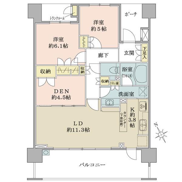 ブリリア成増シーズンテラスの間取図/4F/5,380万円/2LDK+DEN/71.74 m²