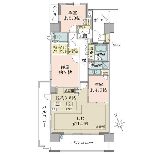 ブリリア巣鴨 北山手賓館の間取図/9F/8,480万円/3LDK+N+WIC/81.5 m²