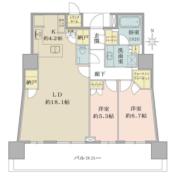 ブリリアタワー池袋の間取図/31F/11,700万円/2LDK/80.9 m²