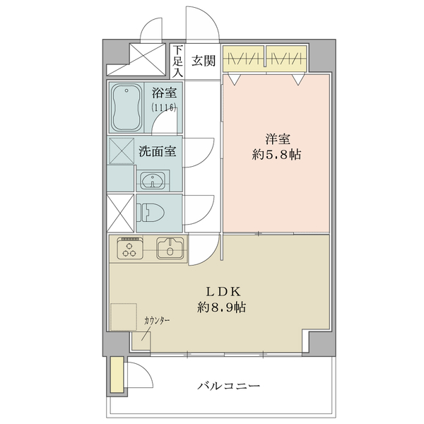 東建池袋要町マンションの間取図/2F/2,280万円/1LDK/38.88 m²