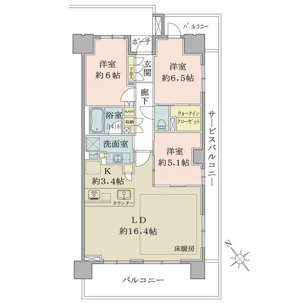 ブリリアときわ台ソライエレジデンスの間取図/8F/5,980万円/3LDK+WIC/80.13 m²