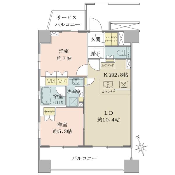 ブリリア旧古河庭園の間取図/5F/4,980万円/2LDK+SIC/57.37 m²