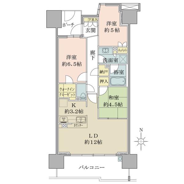 ブリリア越谷レイクタウンの間取図/9F/2,880万円/3LDK+N+WIC/71.81 m²
