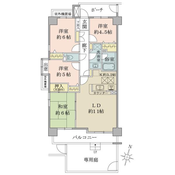 プランヴェール越谷の間取図/1F/1,850万円/4LDK/78.08 m²