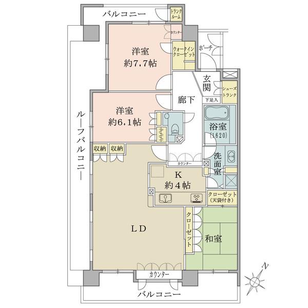 グランヴェール小石川播磨坂の間取図/13F/10,500万円/3LDK/95.87 m²