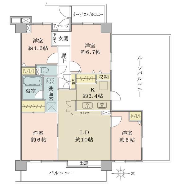 プランヴェール越谷の間取図/4F/2,290万円/4LDK/75.65 m²