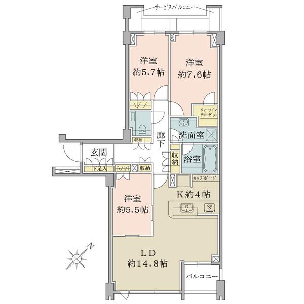 Brillia駒込染井の間取図/2F/10,100万円/3LDK+WIC/89.02 m²