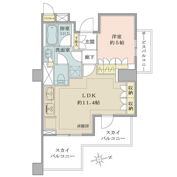 ブリリア文京江戸川橋の間取図/5F/4,790万円/1LDK/43.06 m²