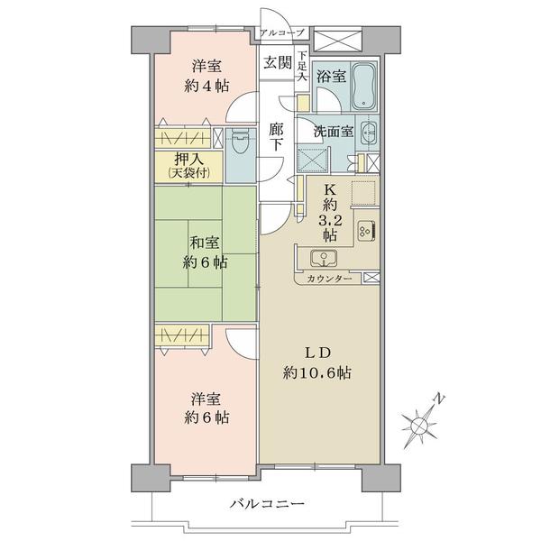 プランヴェール狭山ヶ丘の間取図/5F/1,630万円/3LDK/65.79 m²