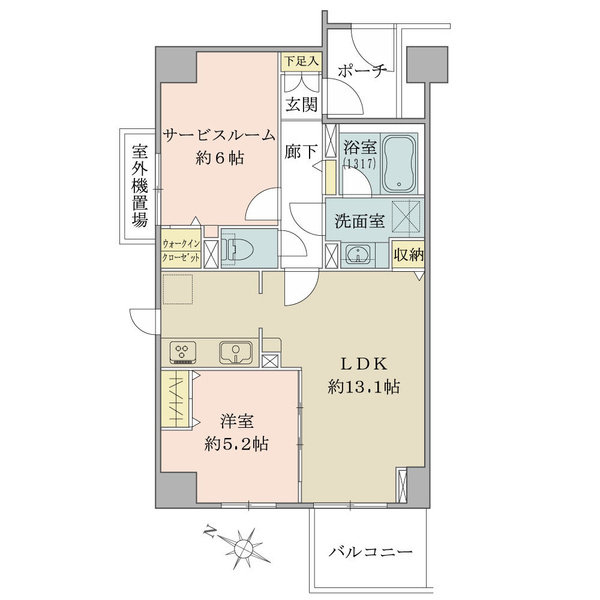 アールヴェール文京大塚公園の間取図/10F/5,980万円/1LDK+S/56.68 m²