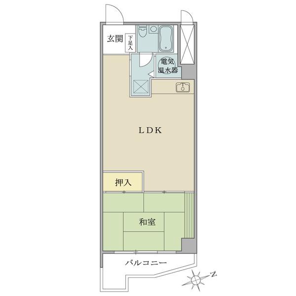 ニューハイツ湯島の間取図/8F/2,200万円/1LDK/42.33 m²