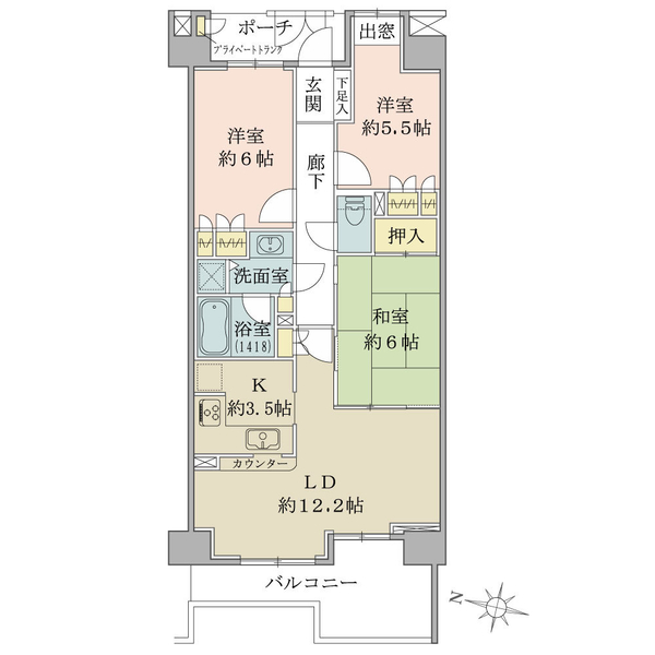 アールヴェール文京大塚公園の間取図/4F/6,480万円/3LDK/73.84 m²