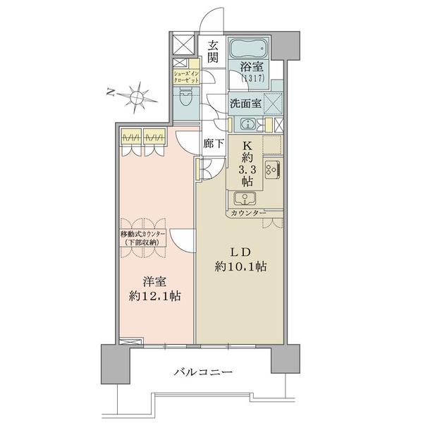 アールヴェール文京白山の間取図/12F/5,100万円/1LDK/57.23 m²