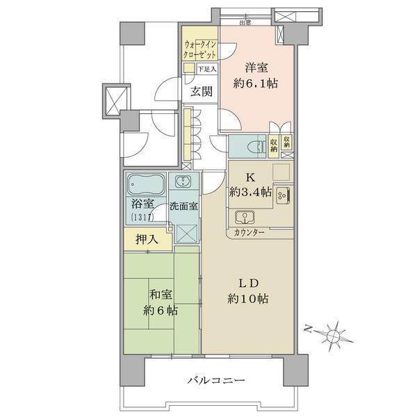 アールヴェール文京白山の間取図/11F/5,490万円/2LDK+W/59.1 m²