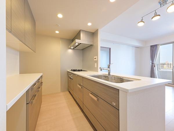 ディスポーザーや食器洗い洗浄機付の機能的なシステムキッチン。