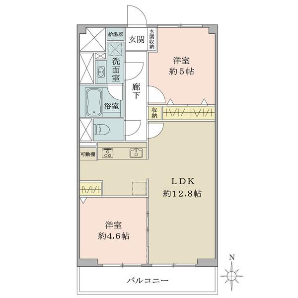 石神井公園マンションの間取図/5F/2,680万円/2LDK/51.3 m²