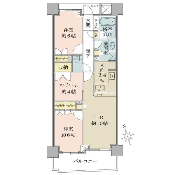プランヴェール谷塚駅前の間取図/11F/2,780万円/2LDK+M/65.75 m²