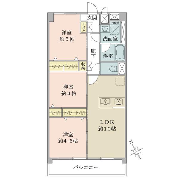東建中村橋マンションの間取図/6F/2,480万円/3LDK/54 m²