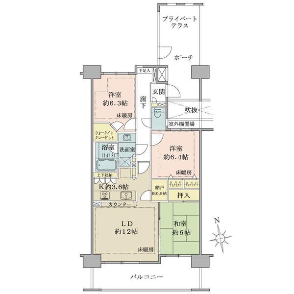 ヴェールガーデン富士見台の間取図/1F/4,980万円/3LDK+N+WIC/78.86 m²