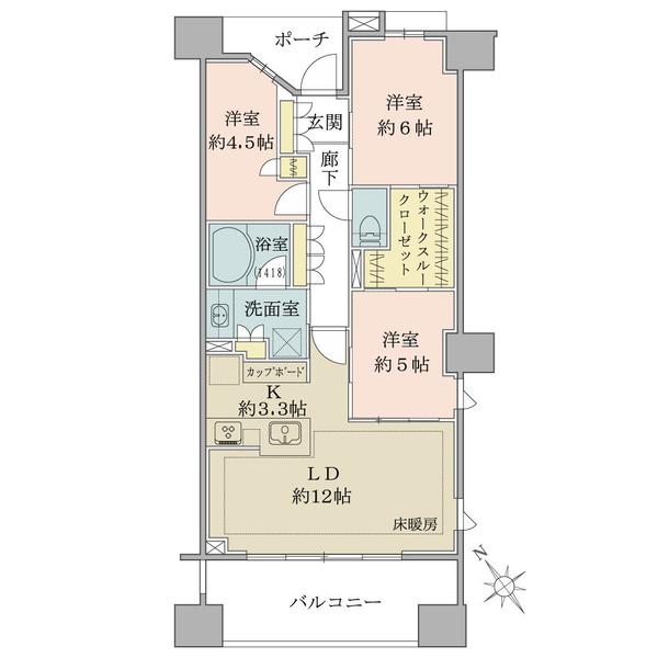 ブリリア目白台の間取図/6F/7,800万円/3LDK+WTC/71.39 m²