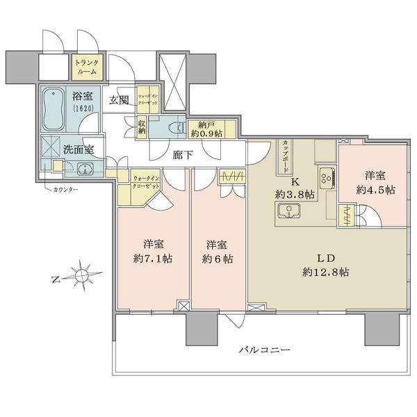 22階部分/南西向き/角住戸/81.02㎡/3LDK+N+WIC+SIC+TR
