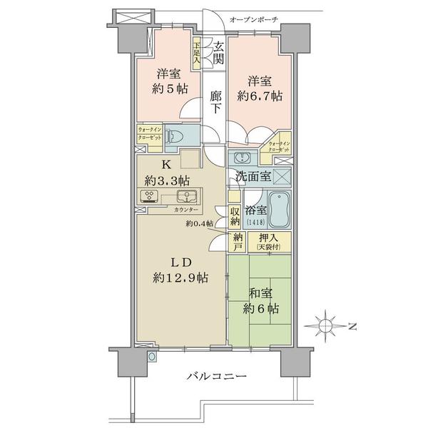 ブリリア越谷レイクタウンの間取図/7F/3,480万円/3LDK+N+2WIC/75.07 m²