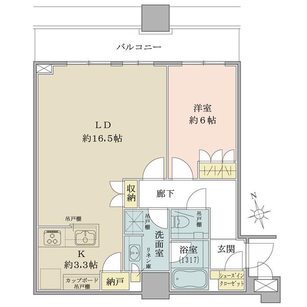 ブリリアタワーズ目黒 サウスレジデンスの間取図/27F/12,800万円/1LDK/61.24 m²
