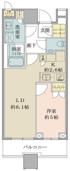 ブリリアタワーズ目黒 ノースレジデンスの間取図/15F/8,680万円/1LDK/40.38 m²