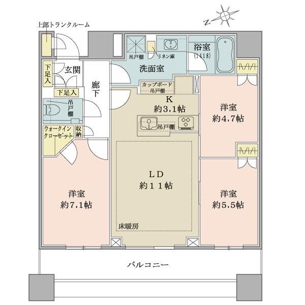 ブリリアタワーズ目黒 サウスレジデンスの間取図/28F/14,800万円/3LDK/72.49 m²