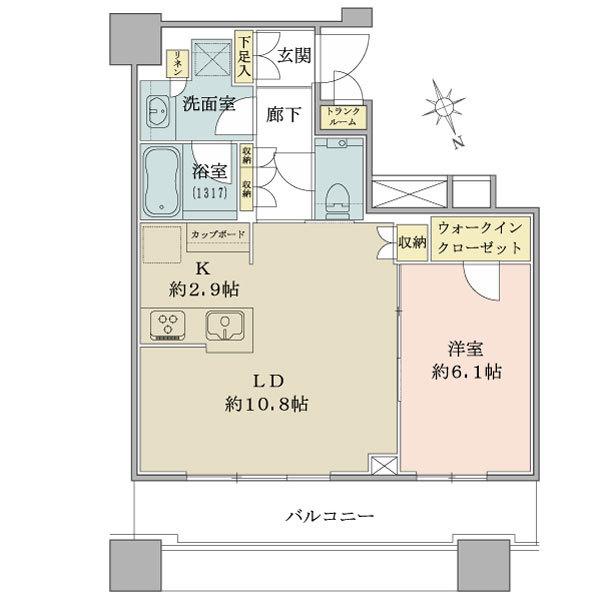 ブリリアタワーズ目黒 サウスレジデンスの間取図/6F/8,750万円/1LDK/48.78 m²