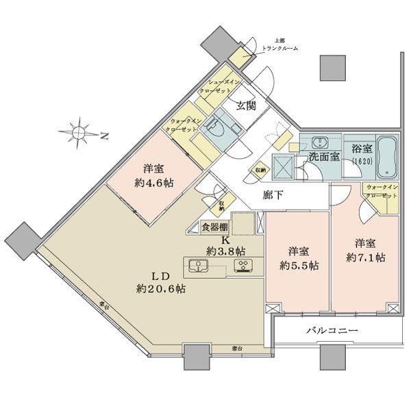 ブリリアタワーズ目黒 ノースレジデンスの間取図/32F/29,800万円/3LDK+2WIC+SIC/97.25 m²