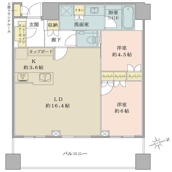 ブリリアタワーズ目黒 サウスレジデンスの間取図/20F/16,900万円/2LDK/70.02 m²